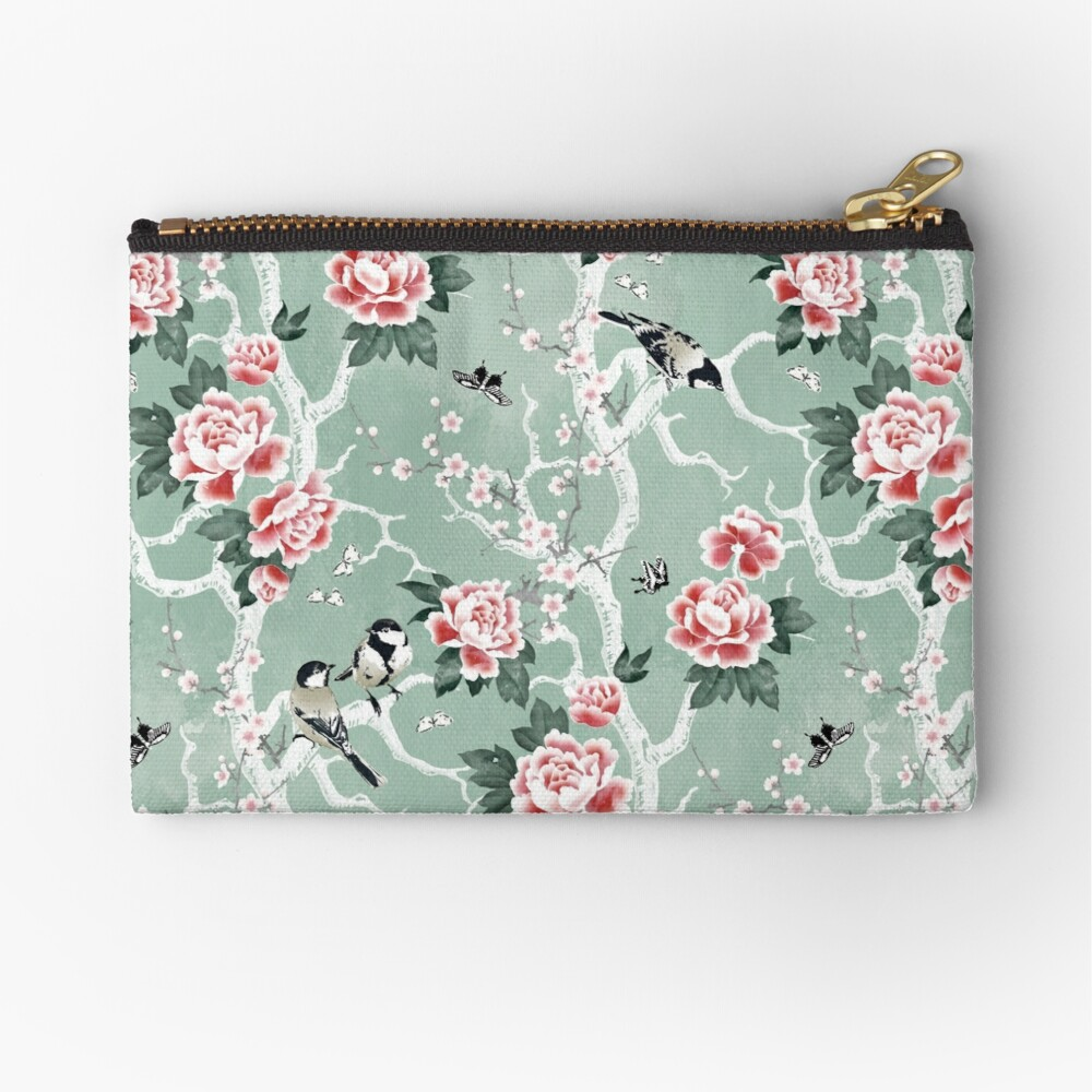 Chinoiserie birds in green Zipper Pouch