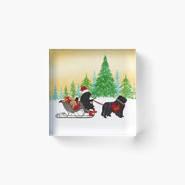 Newfoundland Dog Christmas! Acrylic Block