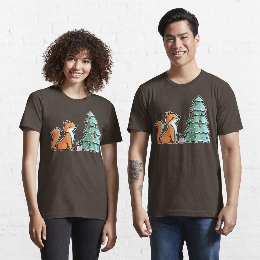 Cute Fox And Christmas Tree Essential T-Shirt