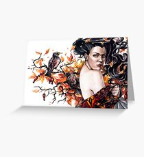 Persephone. Watercolor autumn painting  Greeting Card