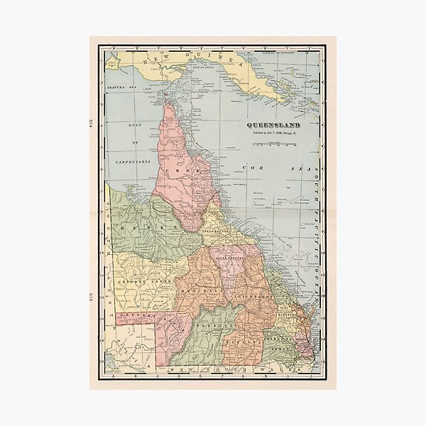 Vintage Map of Queensland Australia (1901) Photographic Print