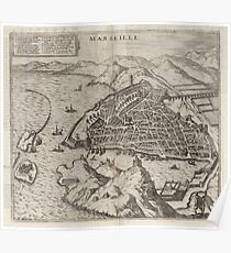 Vintage Pictorial Map of Marseille France (1575) Poster