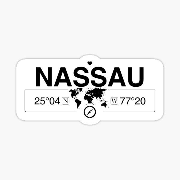 Nassau-Bahamas mit GPS-Koordinaten der Weltkarte Sticker