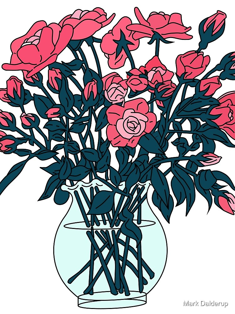 Pink roses in a glass vase by markdalderup