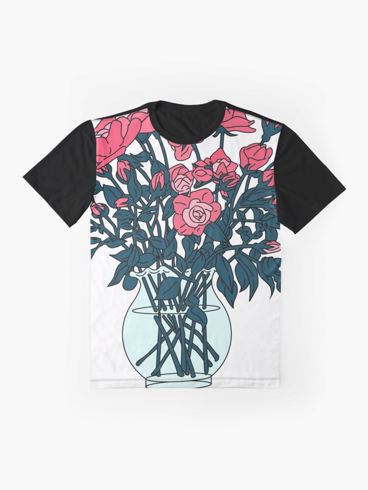 Alternate view of Pink roses in a glass vase Graphic T-Shirt
