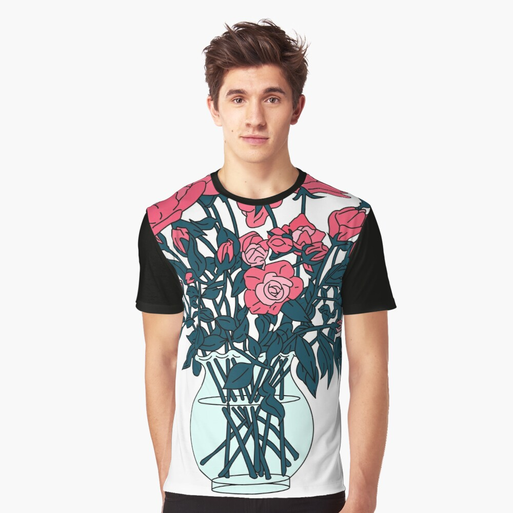 Pink roses in a glass vase Graphic T-Shirt