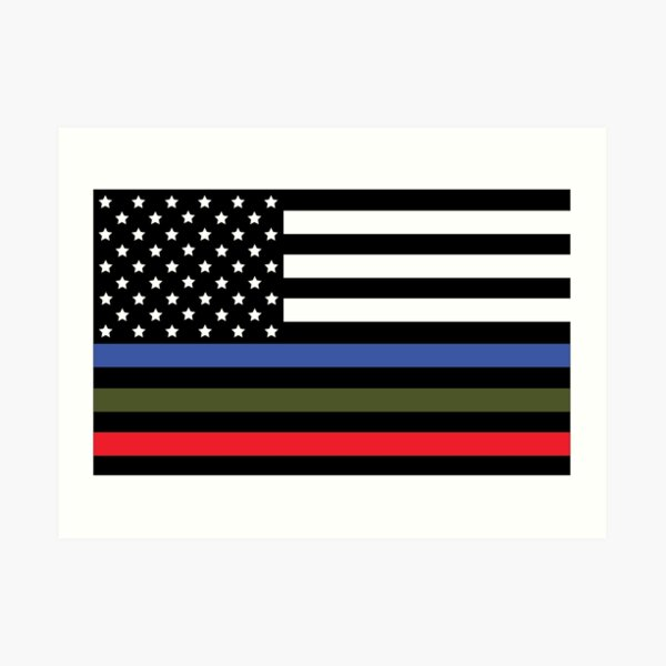 Police, Military and Fire Flag Art Print