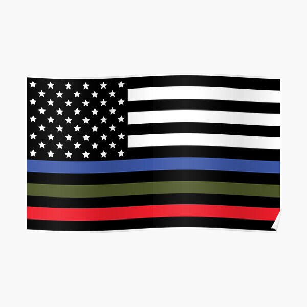 Police, Military and Fire Flag Poster