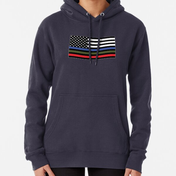 Police, Military and Fire Flag Pullover Hoodie