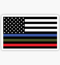 Police, Military and Fire Flag Sticker