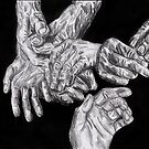 Charcoal Hands on Black background by Mariana Santos