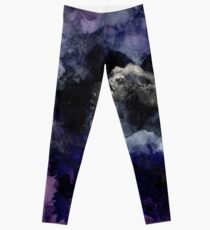PUNCHY II - Abstract Art Print Purple, Black and Gold Leggings