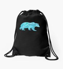 I Love Bears Blue Grizzly Polar Cubs Geometric Drawstring Bag