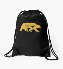 I Love Bears Gold Grizzly Polar Cubs Geometric Drawstring Bag
