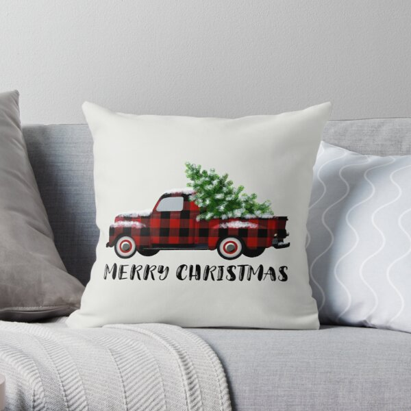 Buffalo Plaid Vintage Truck with Christmas Tree Throw Pillow