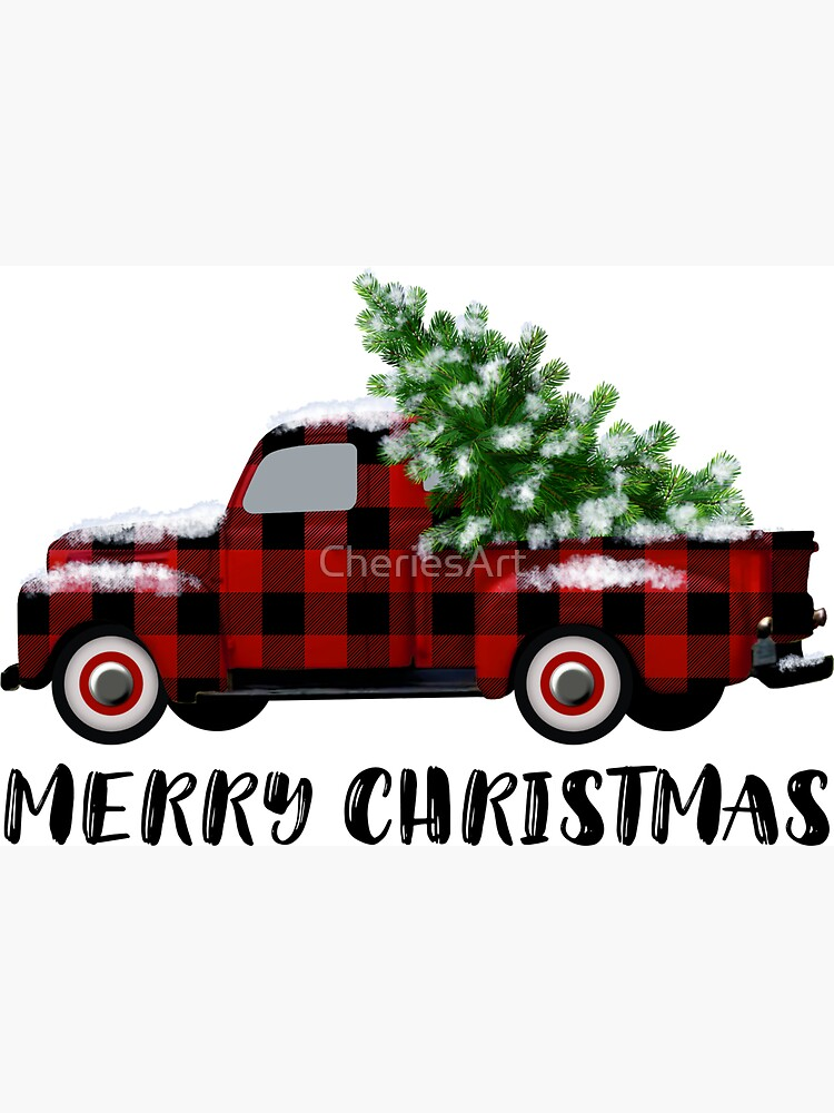 Buffalo Plaid Vintage Truck with Christmas Tree by CheriesArt