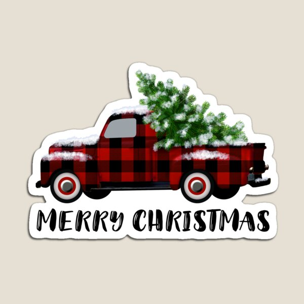 Buffalo Plaid Vintage Truck with Christmas Tree Magnet
