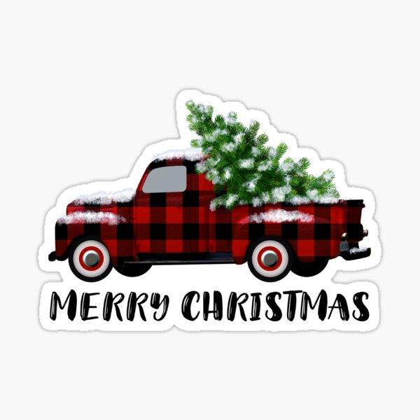 Buffalo Plaid Vintage Truck with Christmas Tree Sticker