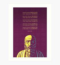 Lao Tzu Zitat: Passen Sie Ihre Gedanken auf Kunstdruck