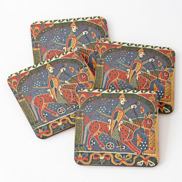 NORWEGIAN BALDISHOL TAPESTRY , Medieval Knight Horseback Coasters (Set of 4)