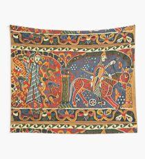 NORWEGISCHE BALDISHOL TAPESTRY, Mittelalterlicher Ritter zu Pferd Wandbehang