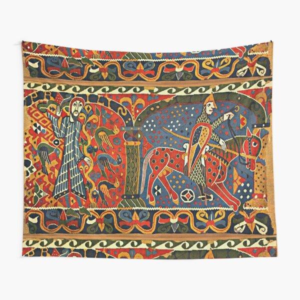 NORWEGIAN BALDISHOL TAPESTRY , Medieval Knight Horseback Tapestry