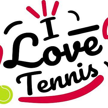 Tennis love shirt sports racket tennis ball gift by Rueb