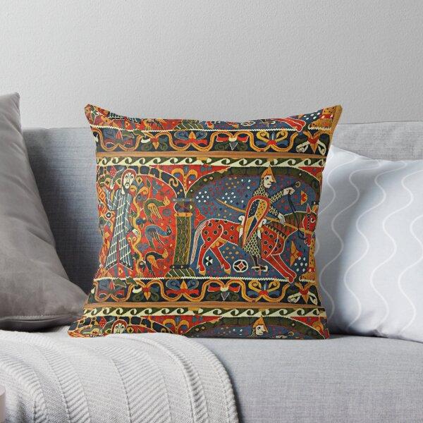 NORWEGIAN BALDISHOL TAPESTRY , Medieval Knight Horseback Throw Pillow