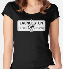 Launceston Tasmania with World Map Coordinates GPS   Women's Fitted Scoop T-Shirt