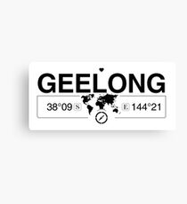 Geelong Victoria with World Map Coordinates GPS    Canvas Print