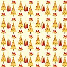 Gold Red Christmas Trees Bells Candles by dkatesmith