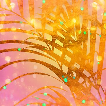 Sultry Summer Sun Golden Tropical Palms by Glimmersmith