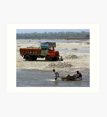 The daily grind, Manas, Assam, India. Art Print
