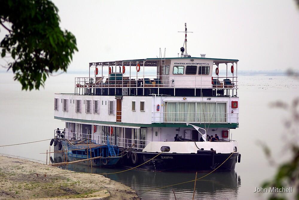The RV Sukapha on the Brahmaputra River, Assam, India. by John Mitchell