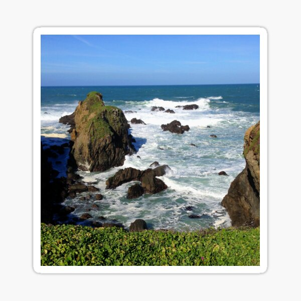 California Rocky Coastline Overlooking The Pacific Ocean Sticker
