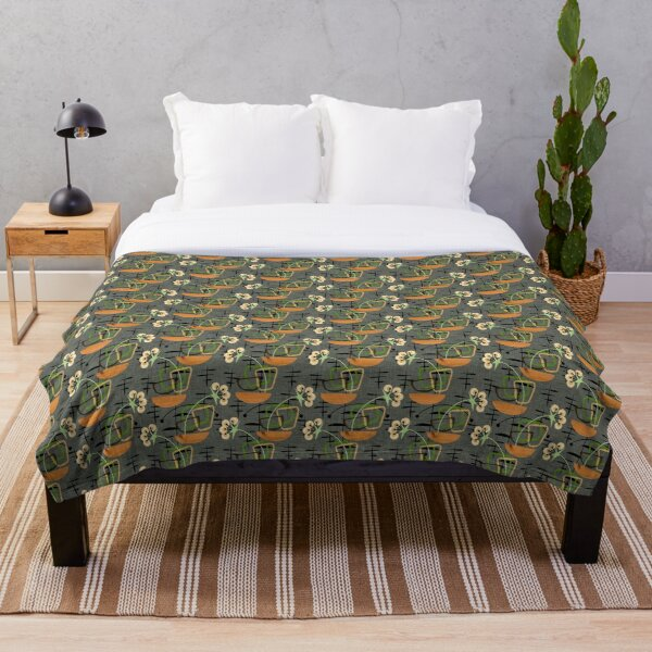 Gray Mid-Century Modern Houseplants, Atomic Patterns Throw Blanket