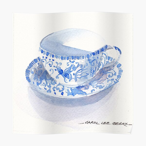 Blue and White Japanese Teacup Poster