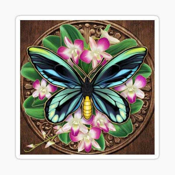 Gilded Queen Alexandria's Birdwing and Orchids Sticker