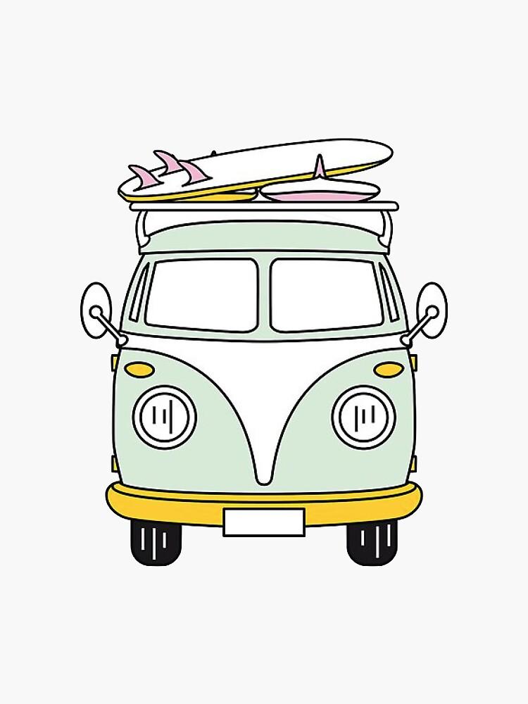 Hippie Van con tabla de surf de trendsonpoint