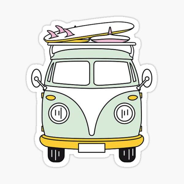 Hippie Van con tabla de surf Pegatina