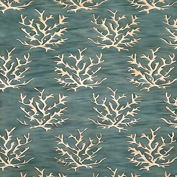 Abstract Antlers Pattern on Teal Blue by taiche