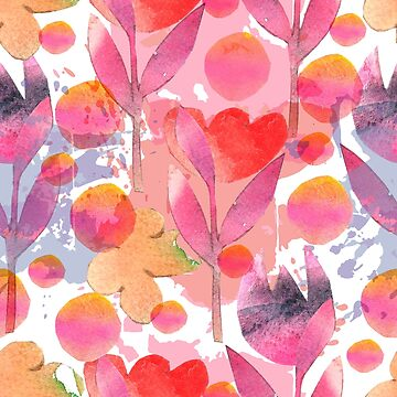 Delicate watercolor paper cut applications with flowers and leaves on a abstract background by TrishaMcmillan