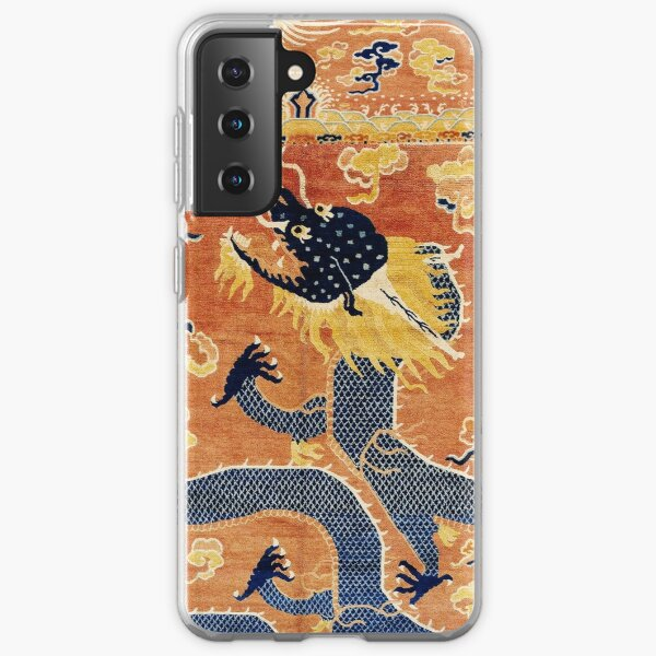 Ningxia Blue Dragon Chinese Pillar Antique Rug Print Samsung Galaxy Soft Case