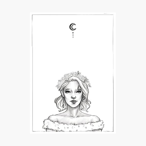 Girl and the Moon Photographic Print