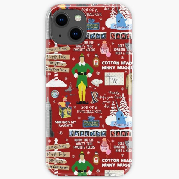 Buddy the Elf collage, Red background  iPhone Soft Case