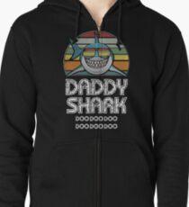 Sudadera con capucha y cremallera Papá Tiburón Retro - Para Estampado Oscuro