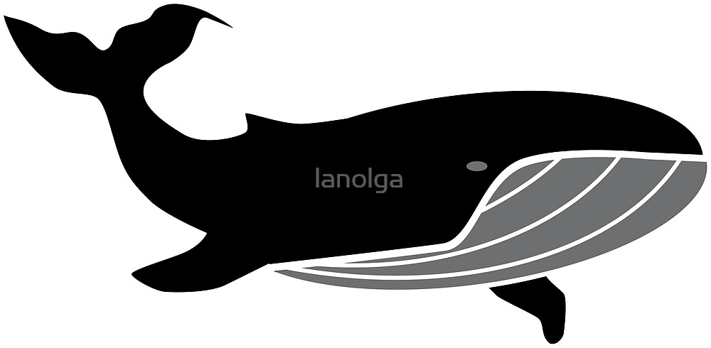 Black Whale in Ocean by lanolga