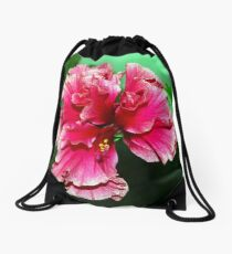 Deep pink double hibiscus Drawstring Bag