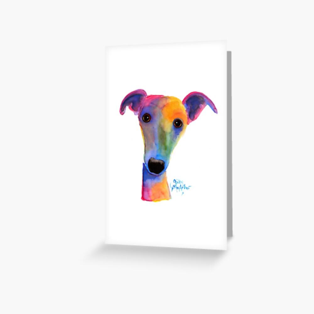 WHIPPET / GREYHOUND PRINT 'PANSY' Von Shirley MacArthur Grußkarte