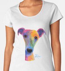 WHIPPET / GREYHOUND PRINT 'PANSY' Von Shirley MacArthur Premium Rundhals-Shirt